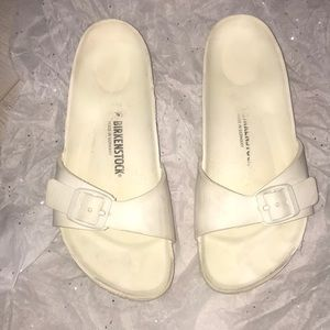 Birkenstock white sandals W6 M4 used and some scuf